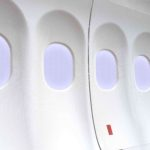 Doppel Flugzeugfenster grau Reihe