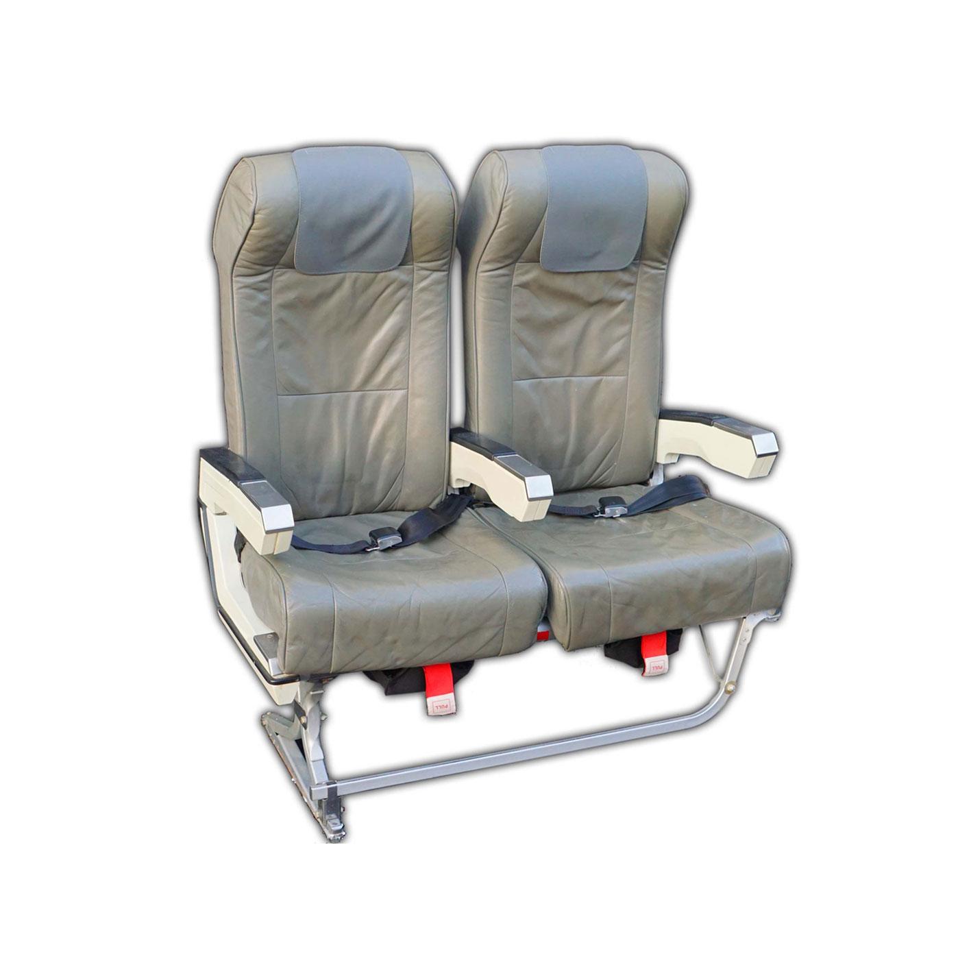 2er Flugzeugsitz-Bank Leder grau