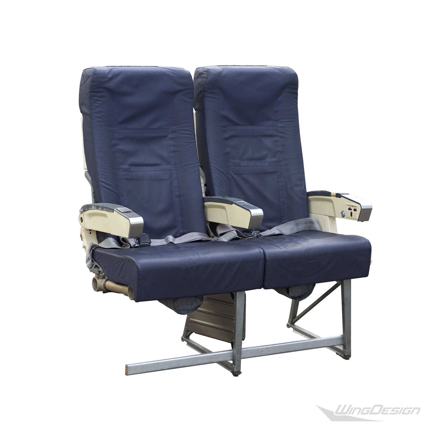 Flugzeugsitz Doppelbank blau Leder gebraucht EconomyClass Aircraftseat wingdesign.com