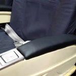 Flugzeugsitz Doppelbank blau Leder gebraucht EconomyClass Aircraftseat Armlehnen
