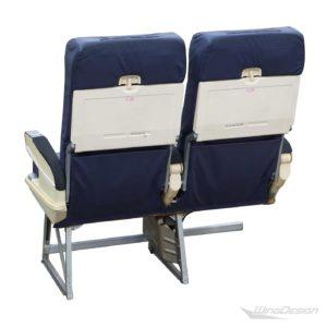 Flugzeugsitz Doppelbank blau Leder gebraucht EconomyClass Aircraftseat Rueckseite
