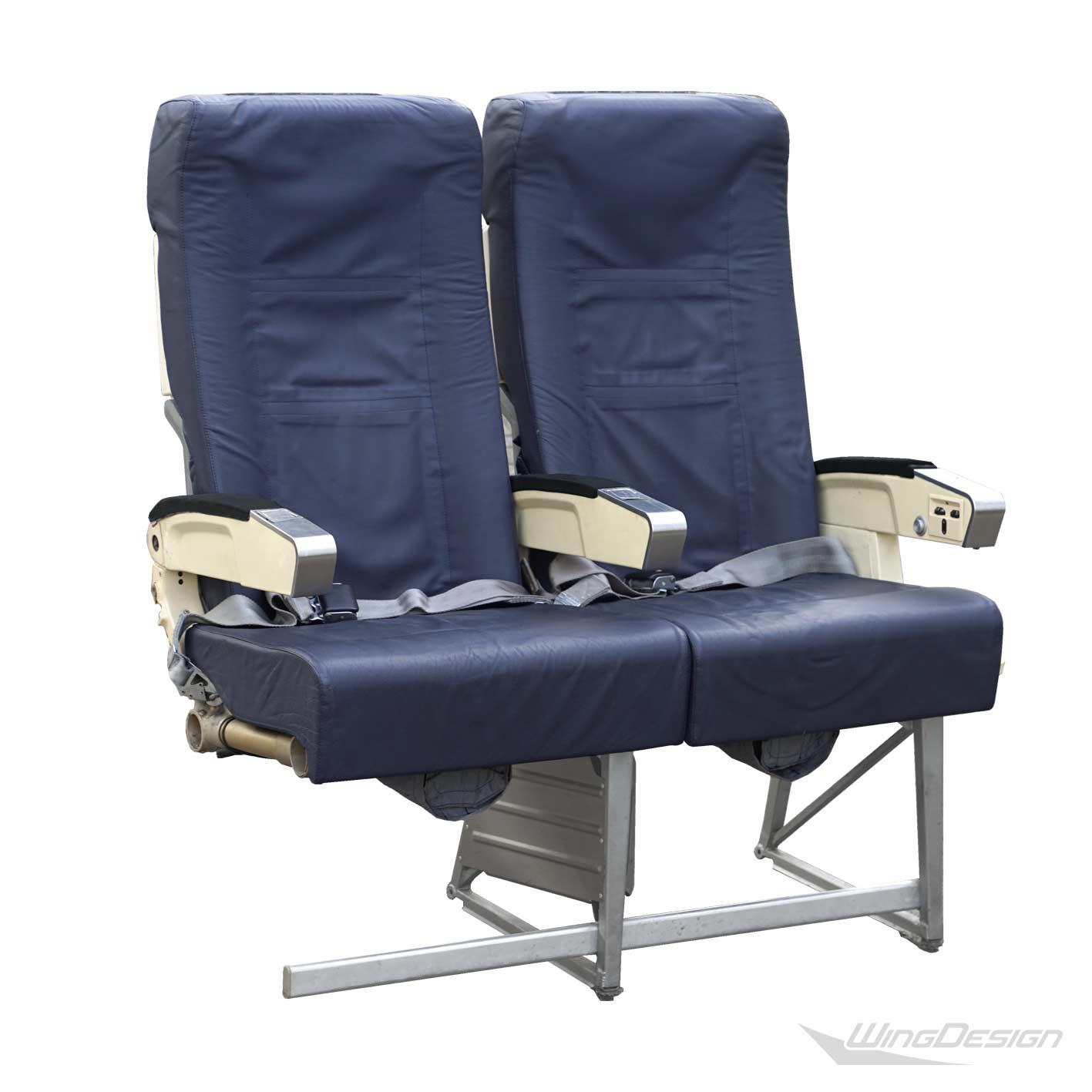 Flugzeugsitz Doppelbank blau Leder gebraucht EconomyClass Aircraftseat