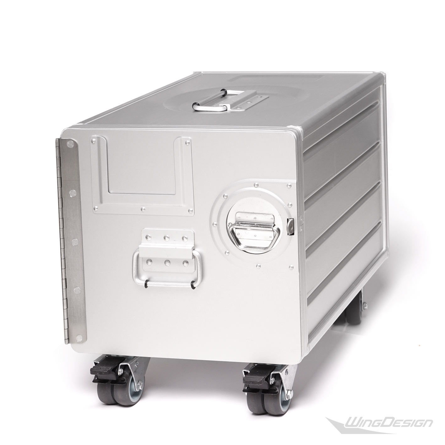 flugzeug Trolley Alu Box silber Gr.S mit Rollen