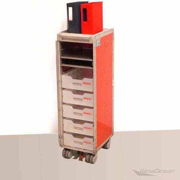 airberlin Flugzeugtrolley mit Kunststoff Einschüben und Tabletts
