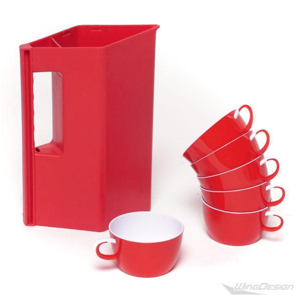 airerblin kunststoff tasse Set mit Kanne rot