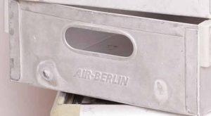 airberlin Flugzeugtrolley Aluminium Einschub gebraucht Logo gepraegt