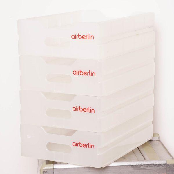 airberlin Flugzeugtrolley Kunststoff-Einschub gebraucht 4er-Set