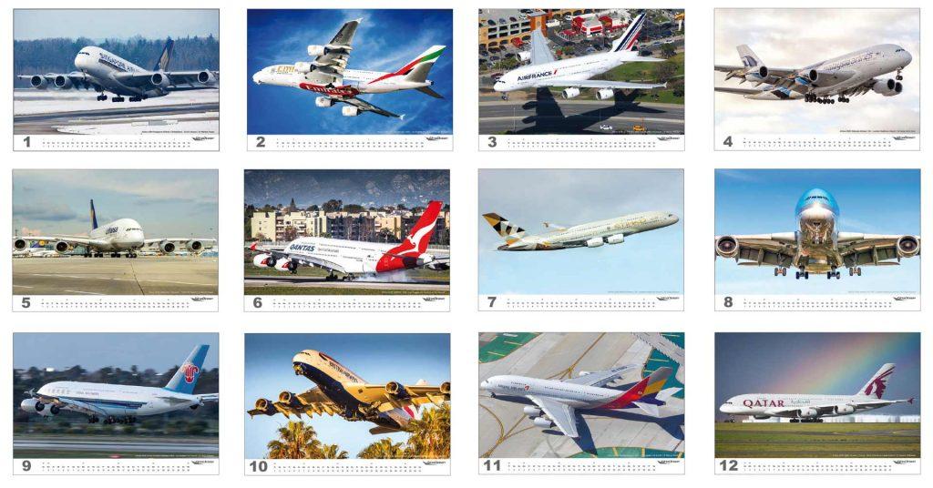 wingdesign AIRBUS A380 Flugzeugkalender 2019 Motive