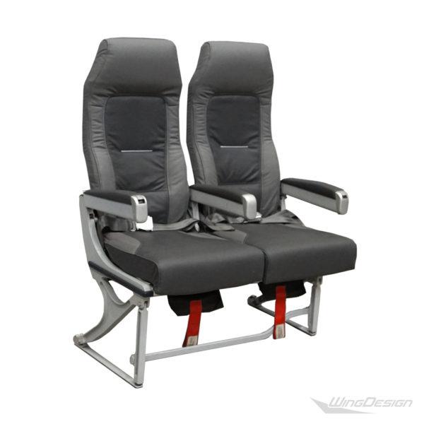 Flugzeugsitz Doppelsitzbank Lufthansa Economy-Class grau