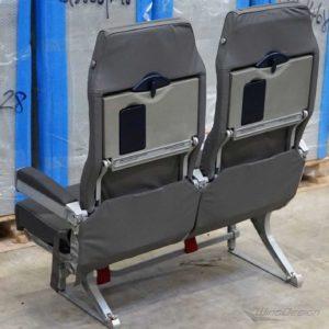 Flugzeugsitz Doppelsitzbank Lufthansa Economy-Class grau Rueckseite