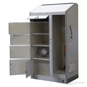 Emergency cabinet Flugzeug-Notfallschrank offen