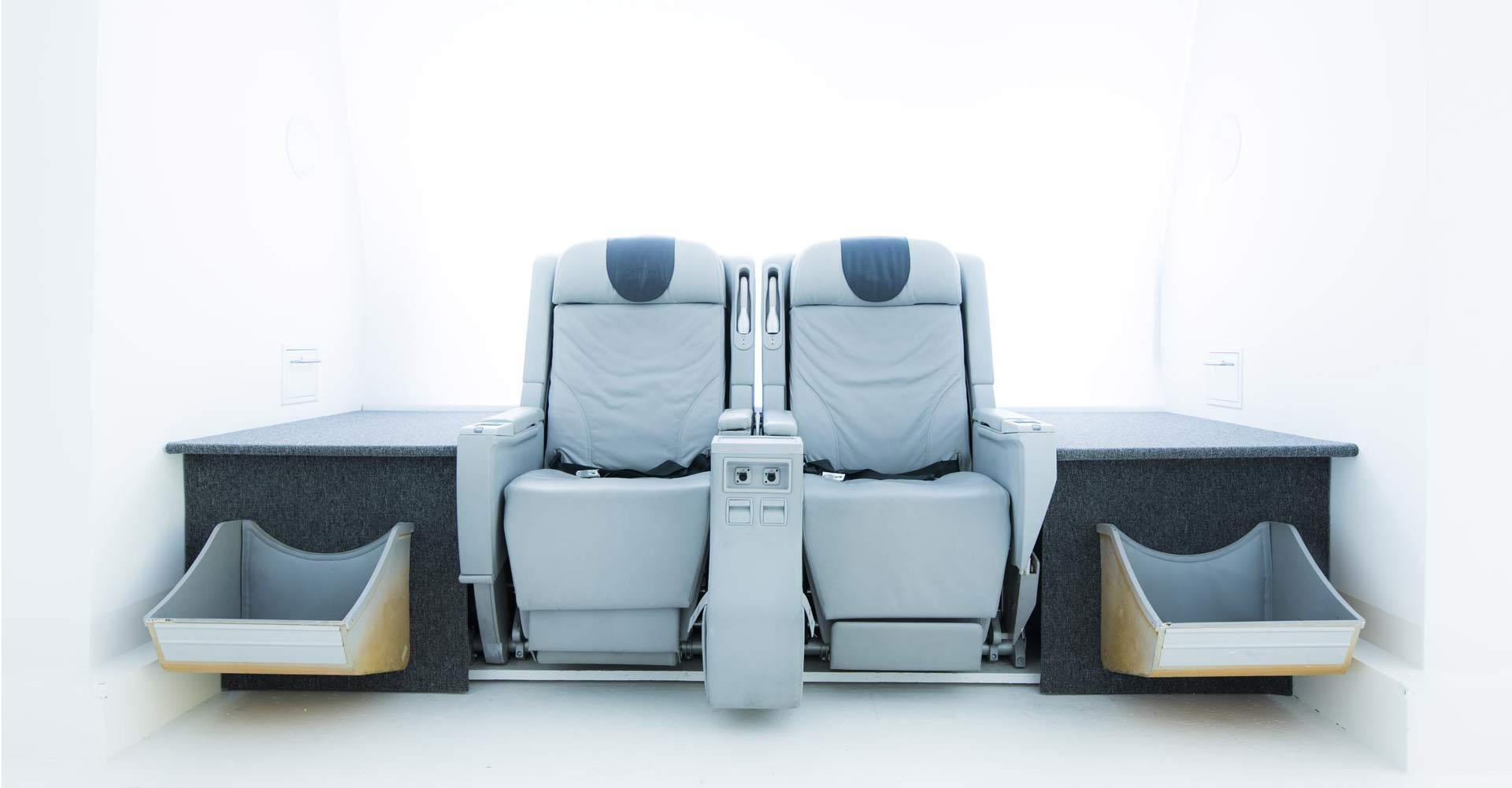 Flugzeugsitze grau Business Class
