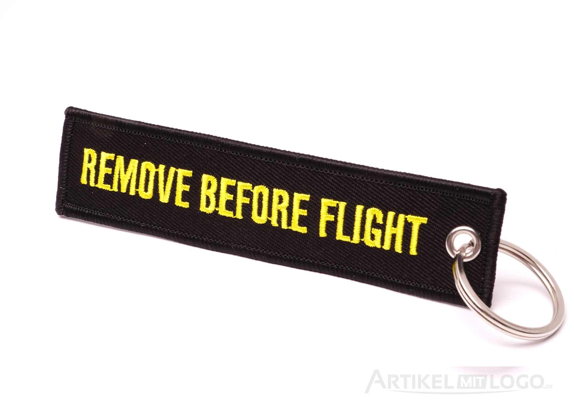 Remove Before Flight Schluesselanhaenger schwarz gelb