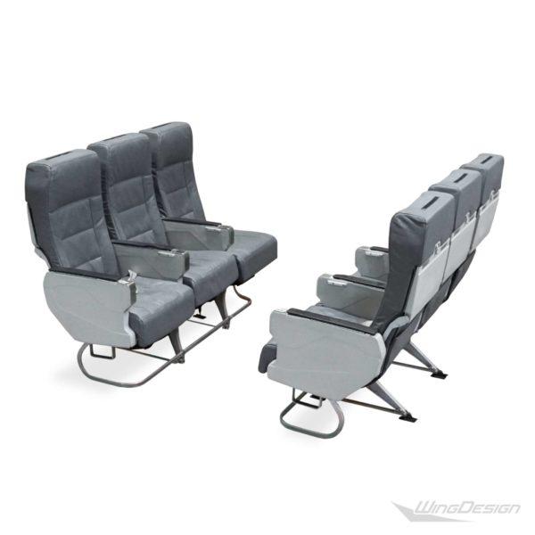 Flugzeugsitz 3er-Sitzbank Leder grau 2er-Set