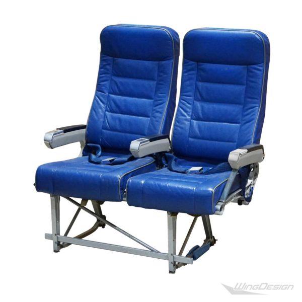 Flugzeugsitzbank Doppelbank Leder blau