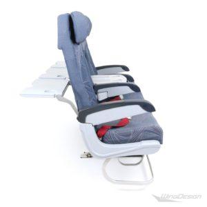 Flugzeugsitz Dreierbank blau Economy Class - Stoffbezüge Seitenansicht