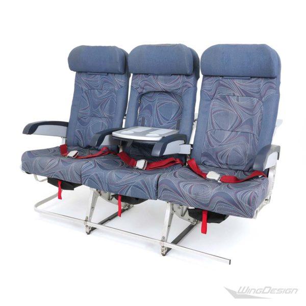 Flugzeugsitz Dreierbank blau Economy Class - Stoffbezüge top