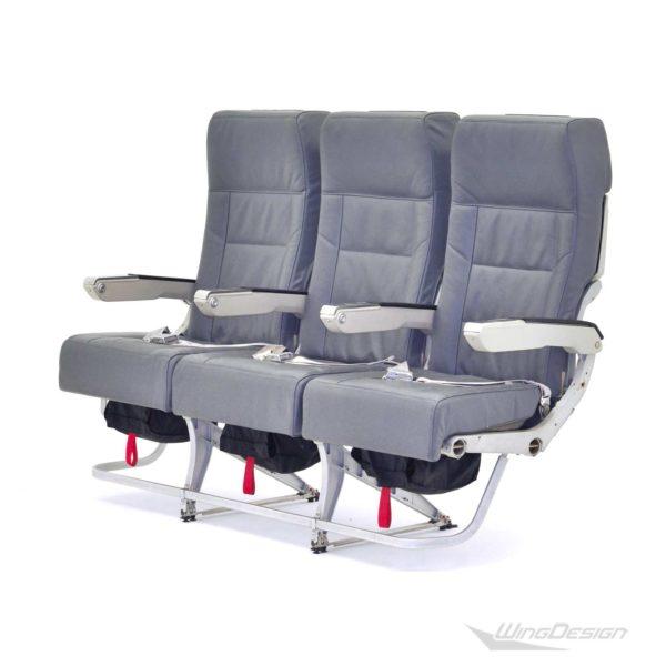Flugzeugsitz Dreierbank Weber-5300 Economy Class mit grauen Lederbezügen