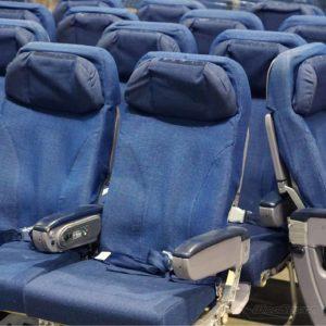 Flugzeugsitz Doppelsitz mit Stoffbezug diverse in Reihe