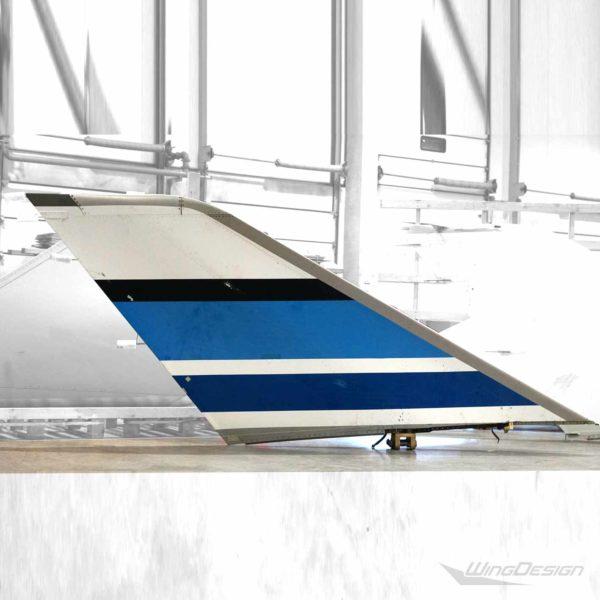 Winglet Tragflächenteil einr Beoing 747 gestreift