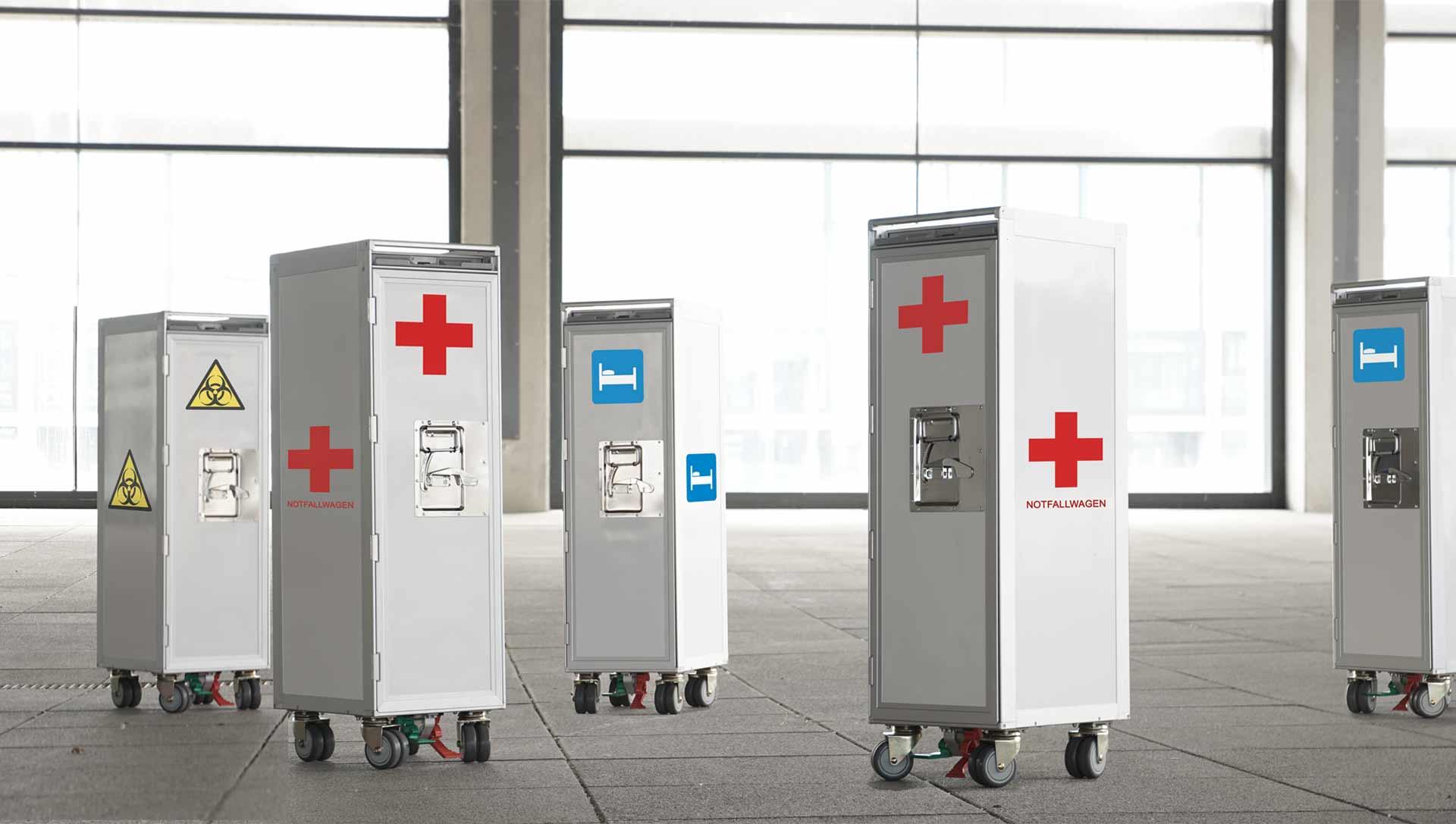 Flugzeugtrolleys als Notfallwagen Bettenwagen in der Medizin