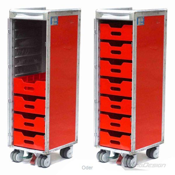 airberlin Flugzeugtrolley Variante mit neuen roten Kunststoffeinschüben