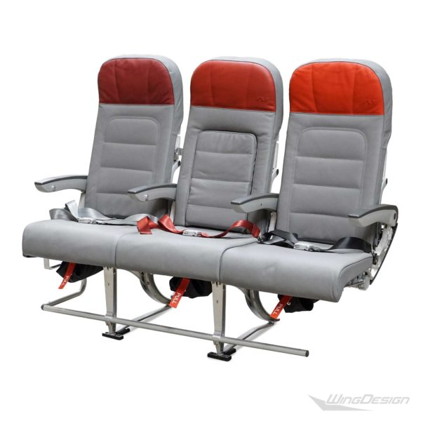 3er Flugzeugsitz Lederbezuege seitlich